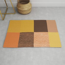 Fall Mustard Orange Golden Brown Checkered Gingham Patchwork Color Rug