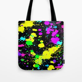 Neon Paint Splatter Tote Bag