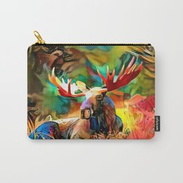 Colorful moose lying in the grass Carry-All Pouch
