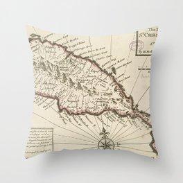 Vintage Map of Saint Kitts (1732) Throw Pillow