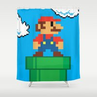 mario Shower Curtains featuring Mario Bros by WaXaVeJu