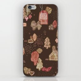 Hansel and Gretel Fairy Tale Gingerbread Pattern on Brown iPhone Skin