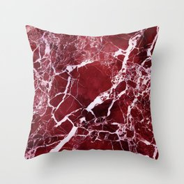 Ruby Red Marble Throw Pillow
