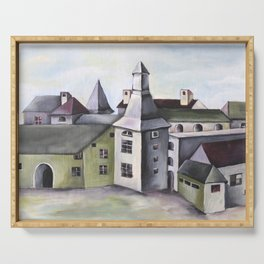 Pop Surrealism Watercolor Artwork with French Provenance Castle in Liege Serving Tray