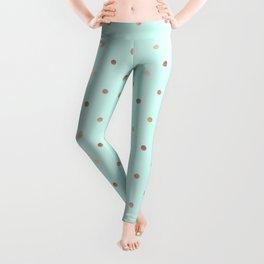 Mint & Rose Gold Polka Dot Pattern Leggings
