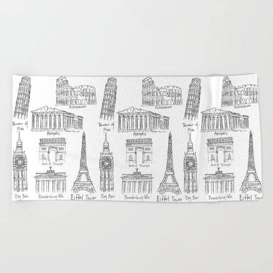 Europe at a glance Beach Towel