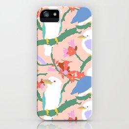 Kookaburra Birds + Little Kurrajong Flowers iPhone Case