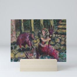 mermais zodiac: aries Mini Art Print