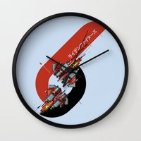 foo fighters Wall Clocks featuring Raiden Fighters by Slippytee Clothing