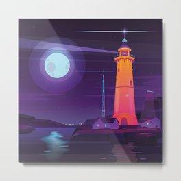 Midnight Lighthouse in Midcentury Illustration Style Metal Print