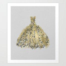 Grey & Gold Leaf Botanical Dress Art Print