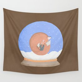 Sleeping Fox in A Snow Globe Wall Tapestry