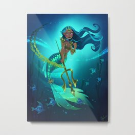 Warrior Mermaid Metal Print