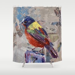 Painted Bunting Bird on Newsprint Shower Curtain
