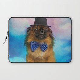 Cute Pekingese dog with bow tie and hat Laptop Sleeve