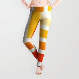 Orange Mid Century Modern Watercolor Colorful Ancient Aztec Art Pattern Minimalist Geometric Pattern Leggings