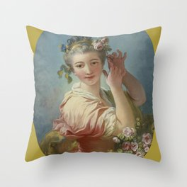 """Jean-Honoré Fragonard """"A Young Woman Adorning Her Powdered Coiffure With a Spray of Roses"""" Throw Pillow"""
