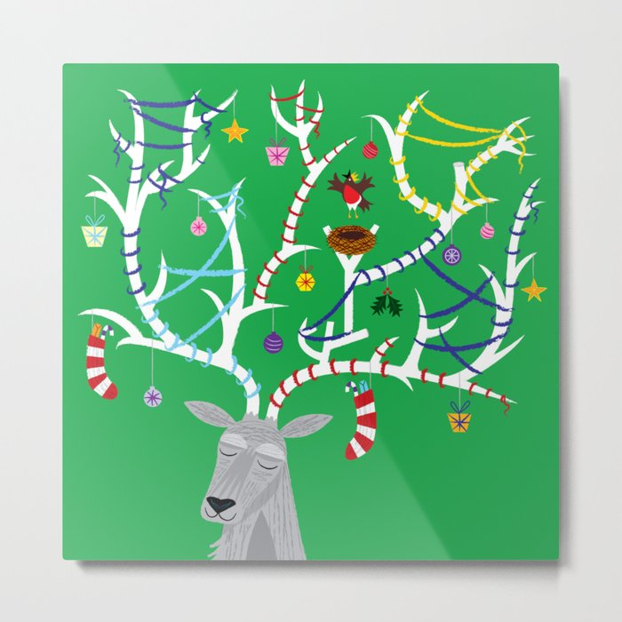 The Reindeer and The Robin Metal Print