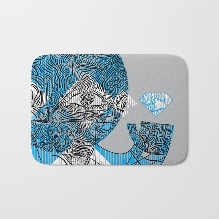 mesmerized by the light blue diamond Bath Mat