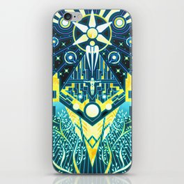 The Reaper War: Control Ending - Quarian Tapestry Art Style (blue/gold ver.) iPhone Skin