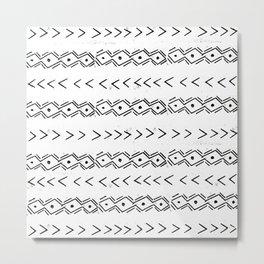 mudcloth 5 minimal textured black and white pattern home decor minimalist Metal Print
