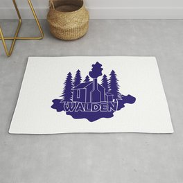 Walden - Henry David Thoreau (Blue version) Rug