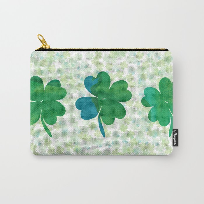 Lucky Watercolor Clovers Carry-All Pouch