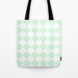 Large Diamonds - White and Pastel Green Tote Bag