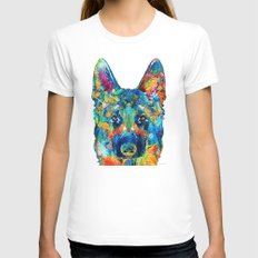 Colorful German Shepherd Dog Art By Sharon Cummings White Womens Fitted Tee SMALL
