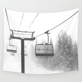 Chairlift Abyss // Black and White Chair Lift Ride to the Top Colorado Mountain Artwork Wall Tapestry