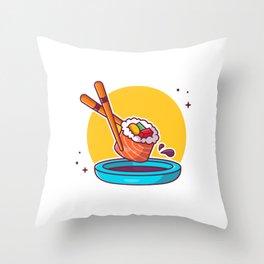 Sushi Chopstick Shoyu Cartoon Icon Illustration Japanese Food Icon Concept Isolated Flat Cartoon Sty Throw Pillow