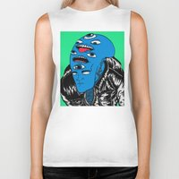 snl Biker Tanks featuring Saturday Night Nightmare by Late Nite Draw