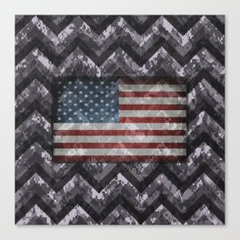 Periwinkle Purple Digital Camo Chevrons with American Flag Canvas Print