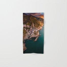 Aerial above Cinque Terre, Italy Hand & Bath Towel