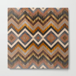 Colorful geometric wooden texture collage Metal Print