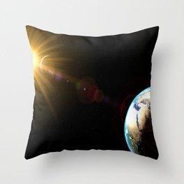 sun, earth and the moon Throw Pillow