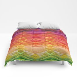 Dimensional Sunset Geometric Rainbow Comforters