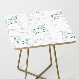 Standing tall Unicorn on cloud and heart pattern Side Table