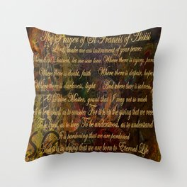 The Prayer of St Francis of Assisi Throw Pillow