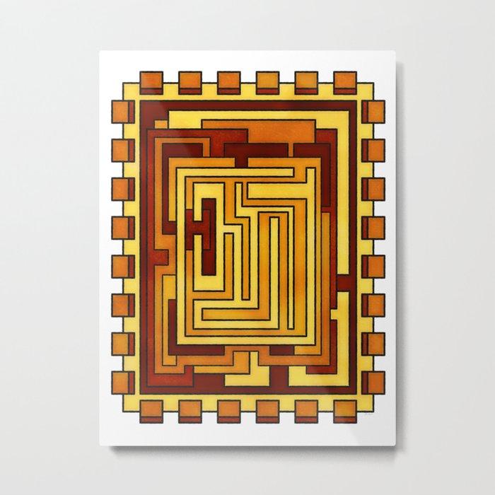 Sol - Geometric Art Deco Sun Metal Print