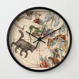 Pictorial Celestial Map with Constellations Ursa Major and Ursa Minor Wall Clock