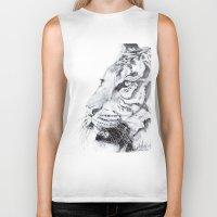 tiger Biker Tanks featuring Tiger by Kirsten Neil