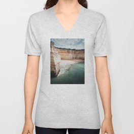 One of the beautiful beaches in the Algarve, Portugal Unisex V-Neck