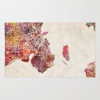 copenhagen Area & Throw Rugs featuring Copenhagen by MapMapMaps.Watercolors