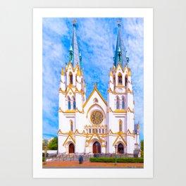 Savannah Cathedral On Lafayette Square Art Print