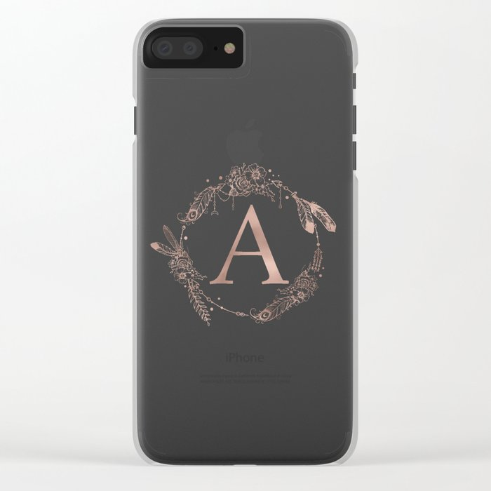 Letter A Rose Gold Pink Initial Monogram Clear iPhone Case