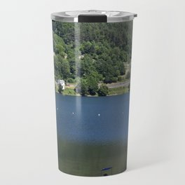Scenic view of the Lake of Piazze with sun-bathing tourist Travel Mug