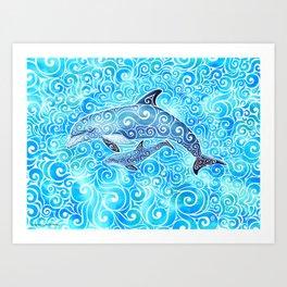 Swirly Dolphin Family Art Print