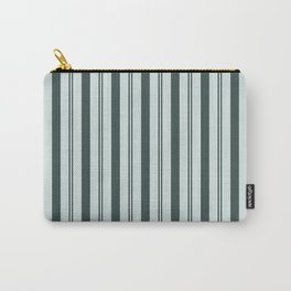 Night Watch Color of the Year Thick and Thin Vertical Stripes on Cave Pearl Light Mint Green Carry-All Pouch