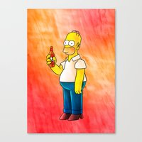 homer Canvas Prints featuring Homer & Duff by Lukas Stobie